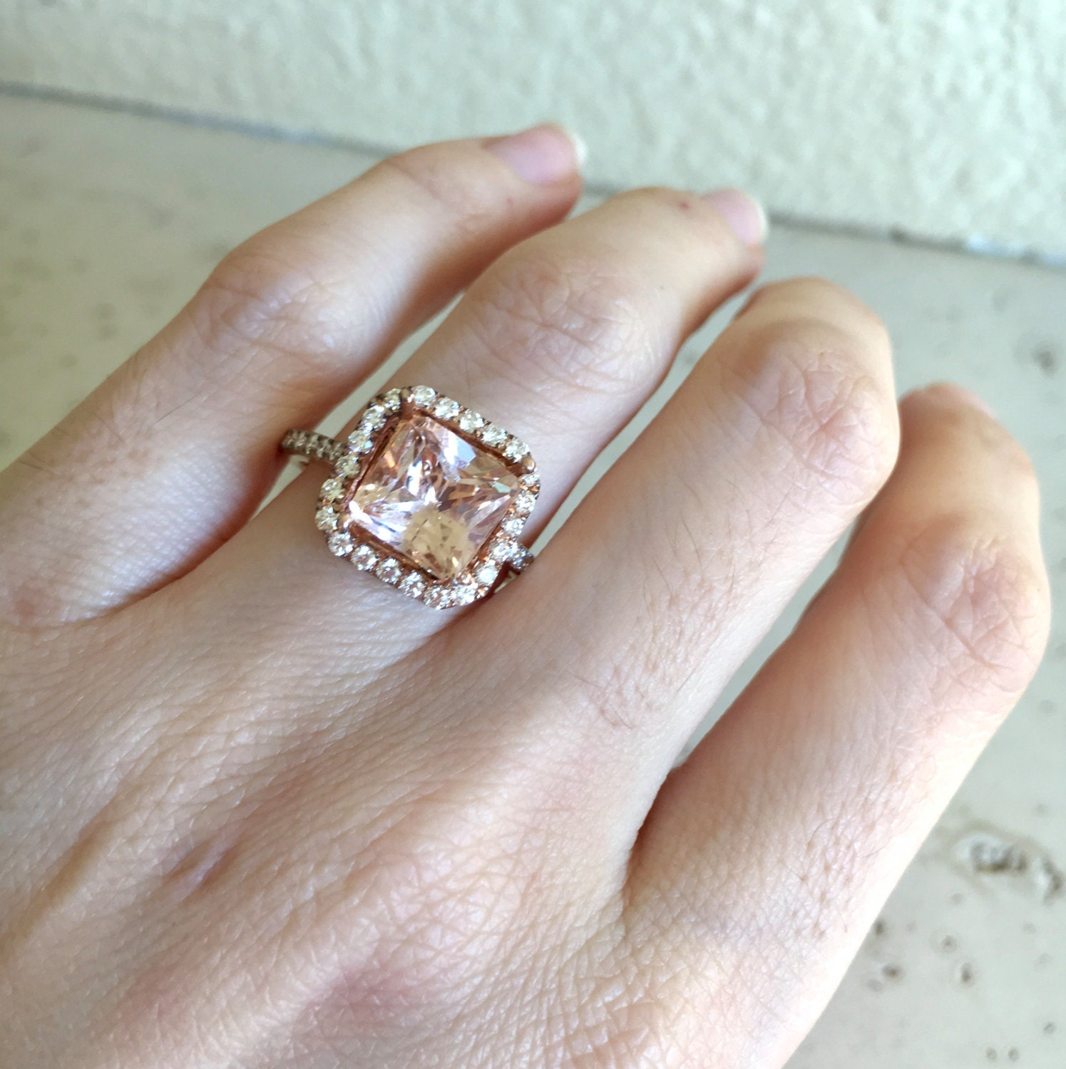 il emerald blake fullxfull diamond sapphire rose rings listing cut engagement peach lively gold ring