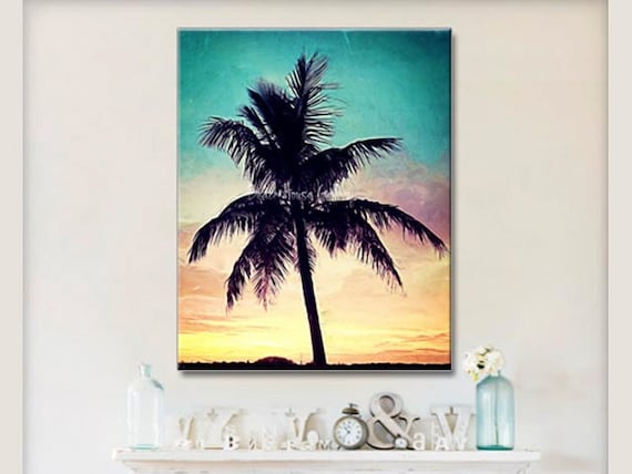 seascape palm tree wall art teal coral yellow wall art. Black Bedroom Furniture Sets. Home Design Ideas