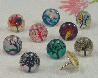 Decorative Push Pins, Drawing Pins, Tree Push Pins, Thumbtacks, Cork Board Pins, Trees Drawing Pins, Teachers Gift