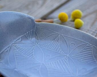 Ceramic Tray, Gray Stoneware dish, Winged Serving Tray, Ceramic Appetizer Plate, Gray serving dish, Cheese Plate, Modern Home Decor