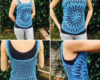 Free shipping/Blue bohemian summer woman top fringe crochet shirt -singlet/knitting shirt/beech wear/ready to ship/fringe crochet shirt