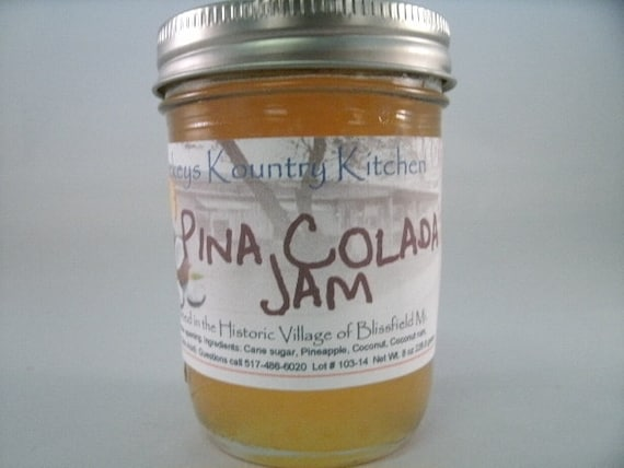 Pina Colada  jam, handcrafted, Deliciously Sweet, homemade jam & jelly by Beckeys Kountry Kitchen