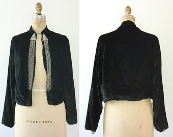 1920s silk jacket / Silk Velvet Jacket / Ansonia Jacket