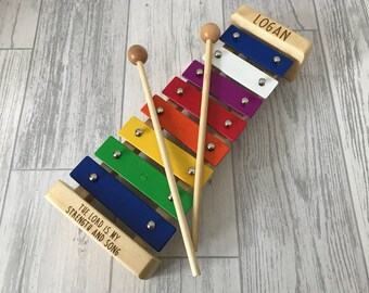 Personalised engraved xylophone musical instrument childrens toy - christening gift - metal xylophone