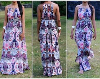 Women's Maxi Dress, Peacock and Flower print dress, Kaleidoscope print dress, summer dress, long dress,