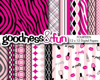 Buy 2, Get 1 FREE - So Pretty Makeup Papers - Digital Paper Pack - Instant Download