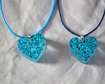 clear resin and blue glitter mix heart pendant necklace