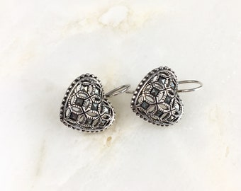 Vintage Sterling Marcasite Heart Earrings