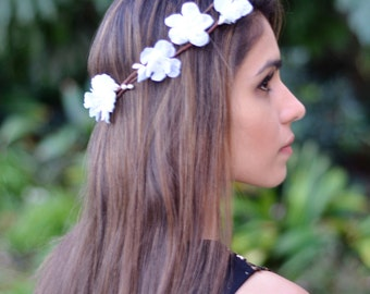 THE AVA - White Flower Crown Bridesmaid  Hippie Gypsy  Woodland Halo Floral Style Headband Hair Jewelry Head Band Circlet Christmas Crown
