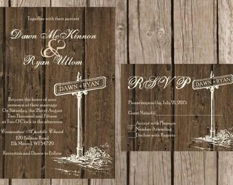 Rustic Wedding Invitation, Rustic Barn Wedding Invitation, Wood Wedding Invitaiton, Country Wedding Invitation,Custom