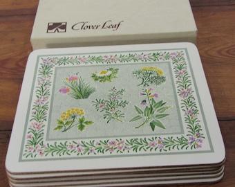 Clover Leaf 6 Table Mats Garden Herbs design England