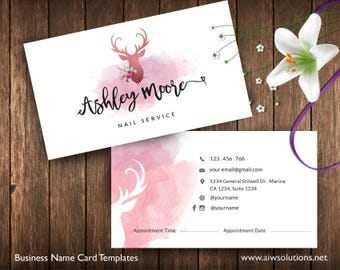 Free coffee card template free salon loyalty business card business cards printable spa service card appointment card pinky card deer reheart Choice Image