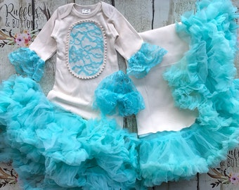 Princess gown set, baby girl gown, tutu petti gown, mint blue, baby shower gift, diamond blue, going home outfit