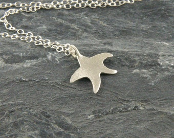 Starfish Necklace Gift For Teens, Tiny Starfish Jewelry Sterling Silver Necklace ,Star Fish Pendant ,Sea Star necklace Silver Star