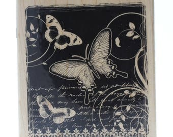 Hampton Art Butterfly Wings Romantic Garden Collage Stamp Wooden Rubber Stamp