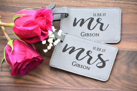 Pair 2 Personalized Mr & Mrs Luggage Tags Wedding Luggage