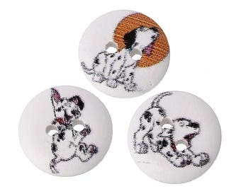 PBois11 - 14 buttons sewing wooden round shape, pattern dogs Dalmatians, 15mm