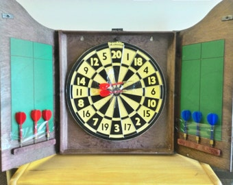 Lord of Arms Dartboard & Wall Cabinet, Franklin Dartboard, Double-Sided Reversible Baseball Diamond Field Dart Board