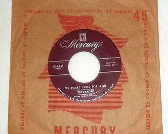 Vintage 45 RPM Vinyl MERCURY Record Vic Damone Music by the Angels/ My Heart Cries For You