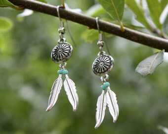Two Feathers Earrings - Silver Feather Earrings - Silver Concho Earrings - Turquoise Earrings - Southwestern Style - Cowgirl Western Jewelry