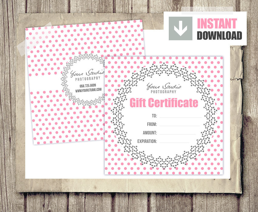 Gift card gift certificate template for photographers pink zoom yelopaper Images