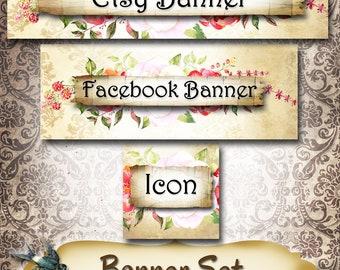 Custom SHOP BANNER Set•Facebook Cover•Dog Rose Design