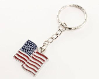 Patriotic Keychain - American Flag Keychain - USA Flag Key Chain - Military Gift - Second Amendment - Stars and Stripes Keychain - Gift Idea