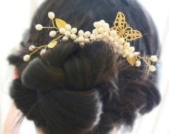 Butterfly in Ivory Pearls - Freshwater Pearl Filigree Bridal Large Hair Pin