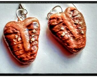 T-Bone Steak Earrings - Miniature Food Jewelry - Meat Earrings - Inedible Jewelry - Statement Jewelry - Junk Food Jewelry - Steak Jewelry