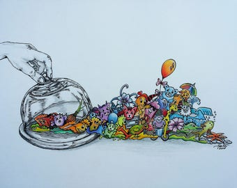 Cheese-Doodles, doodle art, pictures, drawing, surreal, coloured, animals, print, limited edition