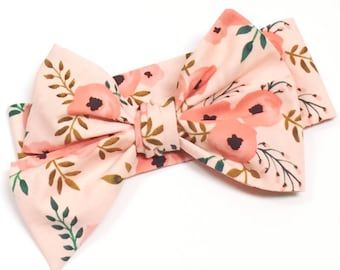 Ready to Ship - Pink Floral Headwrap, Girls Headwrap, Newborn Head wrap, Big Bow, Photo Prop, Blush Pink, Green - PINK POPPIES FLORAL