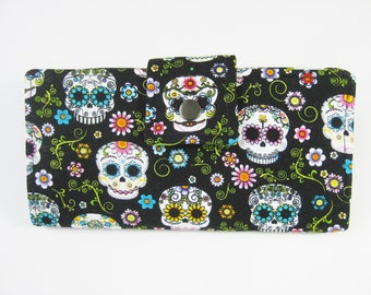 Skull Wallet, Ladies  Wallet,  Black Wallet, Vegan Wallet, Geek Gift, Gifts Under 50, Travel Wallet