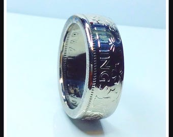 Silver Plated Two Shilling Coin Ring