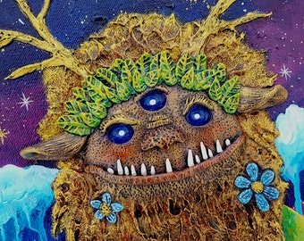 The God of Stars and Sweaters Acrylic and Polymer Clay Monster Painting
