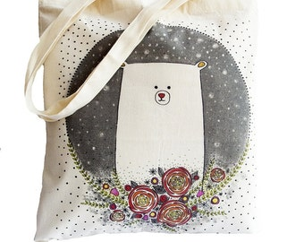 Tote Bag / Shopping Bag - Teddy Bear - 100% Eco-Friendly Organic Cotton. Bear bag