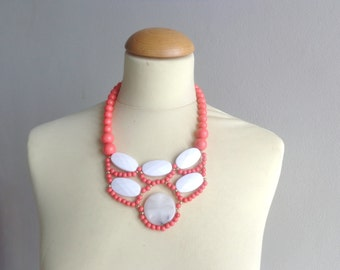 Coral pink white Statement necklace, collar necklace