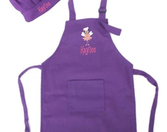 PERSONALIZED Child's Size Purple Apron & Chef's Hat Optional Cooking Fairy Design