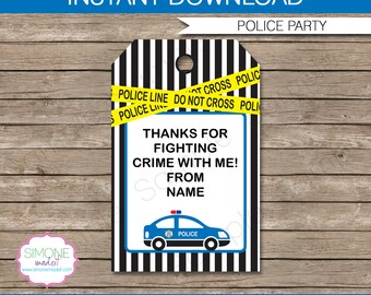 Police Favor Tags - Thank You Tags - Birthday Party Favors - INSTANT DOWNLOAD with EDITABLE text template - you personalize at home