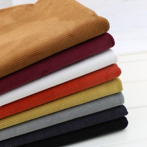 Cotton Corduroy Fabric, Soft Fine 12 Wale , Heavy Weight, White Gray Black Navy Wine …9 solid colors available - 1/2 yard