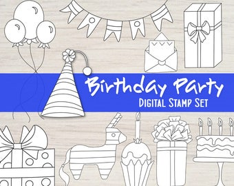Birthday Party Digital Stamp Set of 12 Black and White Embellishments for your Mixed Media Scrapbooking Coloring Art Journal and Card Making