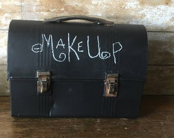 Vintage Chalked Black Lunch Pail or Lunch Box Black