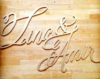 Large Laser Cut Wedding Name Sign, Hand Calligraphy Style Font