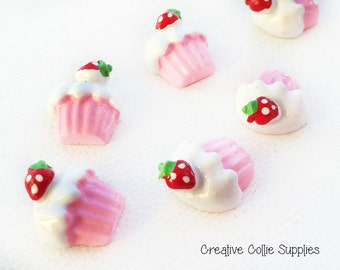 4 Resin Strawberry Cupcake Flatback Cabochons - 15mm - Fake Sweets - Kawaii - Decoden - Candy