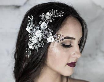 Silver Bridal Hair Comb with Pearls, Wedding Headpiece, Bridal Hair Accessories, Floral Hair Piece, Wreath Hair Combs,