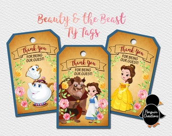 Beauty and the Beast Thank You Tags. Princess Birthday Party. Party Supplies. Baby Shower. DIGITAL FILE
