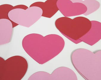 Heart Die Cuts- Card stock heart cut outs, heart place cards, wedding tags, cupcake toppers-PICK YOUR COLORS 3 1/4""