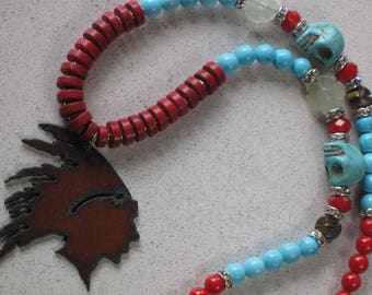 "NEW Rusted Metal Chief Pendant with Red Coral and Turquoise Skull Necklace 24-3/4"" Long, Western, Cinco de Mayo, Native American Inspired"