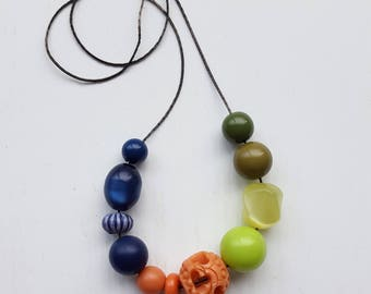 rainboots necklace - colorblock - colour - vintage beads, navy blue, green, orange, coral - custom length