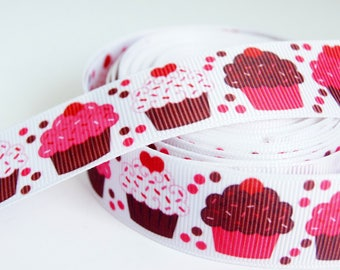 1 M Ruban Gros grain 25mm - red and pink Cupcakes cakes
