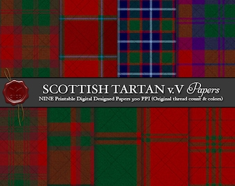 Digital Printable Scottish Tartans: Highland Clan MacNab, Artifact, Ancient, MacGregor-Hastie, Crimson, Smith, Fashion, Clan MacNab Tartan